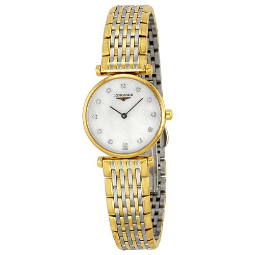 41dlbLa1UIL Gold-tone stainless steel case. Two-tone stainless steel bracelet. White dial.