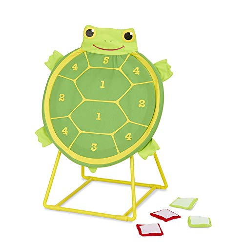 Melissa & Doug Tootle Turtle Target Game, Active Play & Outdoor, Two Color Bean Bags, Self-Sticking Bean Bags, 22'' H x 14.7'' W x 2'' L