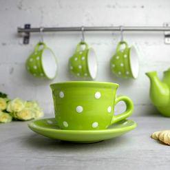 Lime Green Polka Dot Coffee Tea Cup
