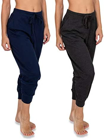 Sexy Basics Women's 2 Pack Soft French Terry Fleece Casual/Active Comfy Capri Jogger Lounge & Sweatpants 1