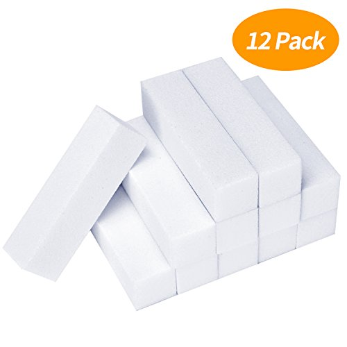 Senkary 12 Pack White Nail Buffer Block 4 Way Sanding Block Files Professional Nail Polisher Manicure Tool
