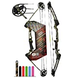 Southwest Archery Ninja Kids Youth Compound Bow Kit - Fully Adjustable 20-29' Draw 10-20LB Pull - 55% Let Off - Pre-Installed Arrow Rest - Finger Saver String - RH, Camo