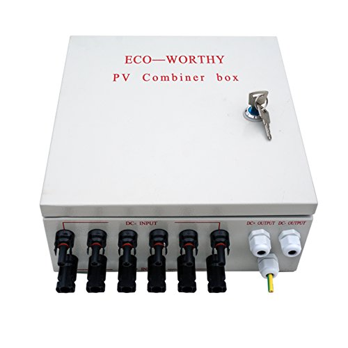 ECO-WORTHY 6 String PV Combiner Joint Box & 10A Circuit Breakers for Solar Panel