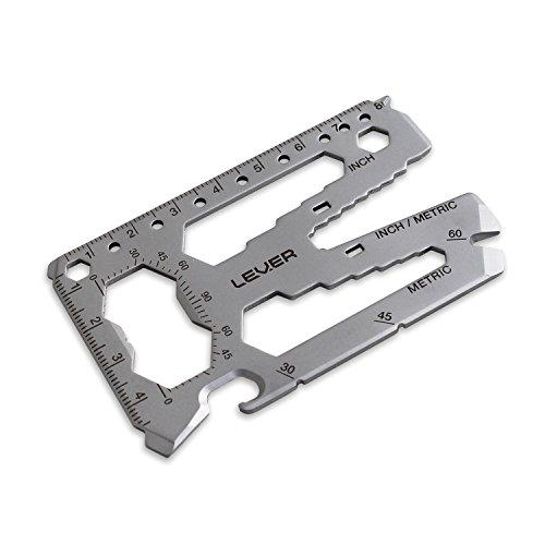 Lever Gear Toolcard Pro - 40 in 1 Credit Card Multitool. Sleek Minimalist Stainless Steel Wallet Multi Tool - Bead Blast Silver