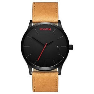 MVMT Classic Watches | 45 MM Men's Analog Minimalist Watch | Black Tan