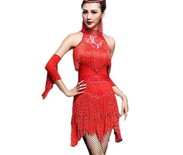 Adulto Festa Flessibile Ampb Donna Red Elegante Nappa Costumi Danza Palcoscenico Latino Vestito Lustrino Xhtw