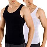 COOFANDY Men's 2 Pack Slimming Body Shaper Vest Compression Shirt Sleeveless Abdomen Shapewear Gynecomastia Tank Top Black/White