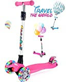 OUTON Scooter for Kids 3 Wheel Kick Scooter for Toddler Girls Boys, Lean to Steer, 4 Adjustable Height, Light Up Wheels for Children Age 3-14 Pink
