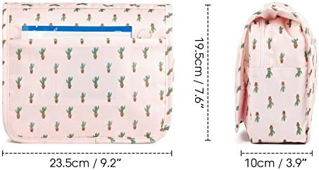 Hanging Travel Toiletry Bag Cosmetic Make up Organizer for Women and Girls Waterproof (Cactus) 8