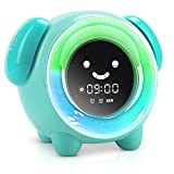 KNGUVTH Kids Alarm Clock Children Sleep Training Clock with 7 Changing Colors Teach Girls Boys Time to Wake Up, Night Light Clock with 2400mAh Rechargeable Battery Charging USB (Green)