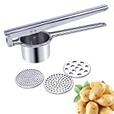 ALIKUGOU Potato Ricer Stainless Steel Potato Masher with 3 Interchangeable Ricing Discs Fine to Coarse Professional Baby Food Strainer Vegetables Masher and Food Press with Ergonomic Comfort Grip
