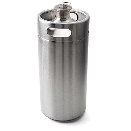 Lamtor G003-3.6L 128 OZ Mini Keg Style Growler Stainless Steel Barrel Holds Beer Silver, 3.6L,