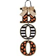 """Boo"" Halloween Wall Sign - Hanging Wood Letters with Burlap Bow - 18 Inches Long"