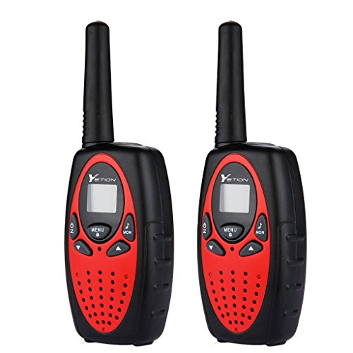 YETION Walkie Talkies for Kids 22 Channel Two Way Radios UHF Long Range Built-in Microphone Hand Free Toy Walkie Talkie for Children (Red)