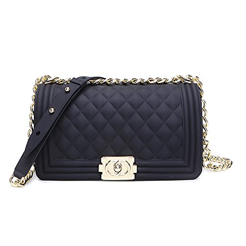 Classic Silicon Quilted Crossbody Bag Luxury Shoulder Handbags Purses For Womens Girls (Black)