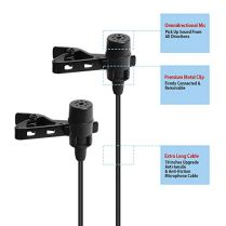 Lavalier-Microphone-MAONO-AU303-Dual-Clip-on-Handsfree-Omnidirectional-Condenser-Interview-Lapel-Mic-with-Headphone-Monitoring-Output-Jack-for-iPhone-Android-Smartphones-iPad-Tablets