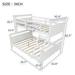 Bunk Bed Twin Over Full Size Wood Bunk Bed Frame for Kids Teens, Stackable Twin Over Full Bunk Beds with High Headboard Footboard, Flat Steps and Safety Rails, No Box Spring Needed, White