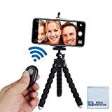 "Acuvar 6.5"" inch Flexible Tripod with Universal Mount for All Smartphones with Wireless Remote Control & an eCostConnection Microfiber Cloth"