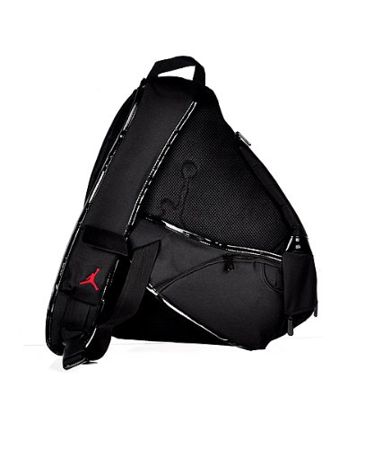 c7a599e3507010 Nike Jordan Jumpman Sling Black Patent Red Zipper Book-Bag BackPack ...