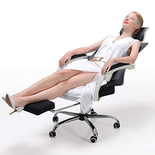 Hbada Ergonomic Office Chair - High-Back Desk Chair Racing Style with Lumbar Support - Height Adjustable Seat,Headrest- Breathable Mesh Back - Soft Foam Seat Cushion with Footrest, White