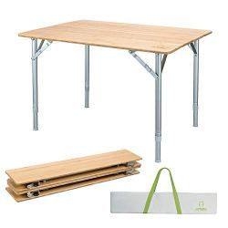 ATEPA Folding Bamboo Table 4-Fold Adjustable Height Aluminum Camping Table Portable Compact Lightweight Outdoor Picnic Table with Carrying Bag