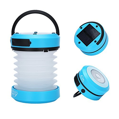 Solar Camping LED Lantern Flashlight - Solar/USB Rechargeable - Collapsible, Portable Design - Brightest Handheld Light Lamp, Torch For Outdoor, Hiking, Camping - Emergency Cell Phone Charger
