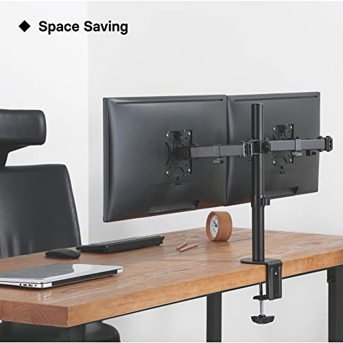 "41eYHdNOumL - 1home Double Twin Arm Desk Mount PC Computer Monitor Screen Dual Bracket Ergonomic Tilt Swivel Rotation 15""-32"" 
