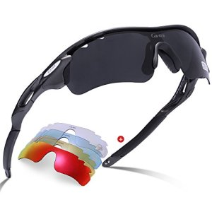 Polarized Sport Sunglasses – Carfia UV400 Cycling Glasses for Men Women Lightweight Cool Frame with 5 lens