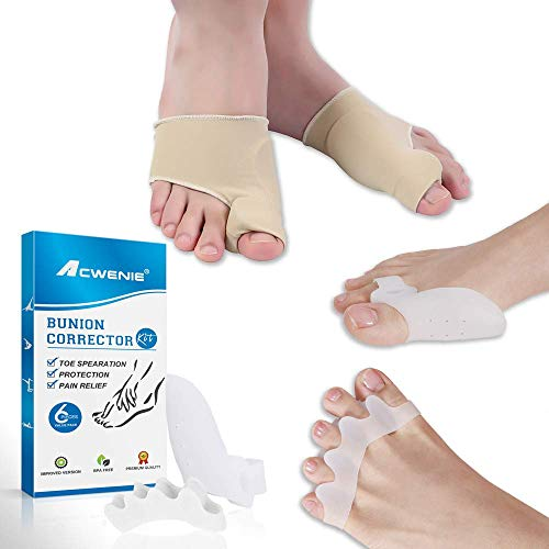 Bunion Corrector Kit - Toe Separators & Toe Spacers Straighteners Splint 3 Pairs, One Size Fits All Pain Relief in Big Toe Joint, Hallux Valgus, Hammer Toe Aid Surgery Treatment (L)