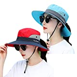 2 Packs Women's Sun Hat Outdoor UV Protection Bucket Mesh Boonie Hat Adjustable Fishing Safari Cap Waterproof (2 Pack-Blue&red, One Size)