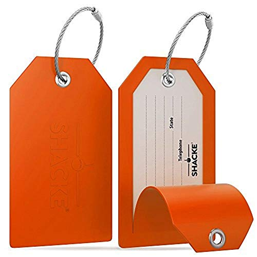 Shacke Luggage Tags with Full Back Privacy Cover w/Steel Loops - Set of 2 (Orange)