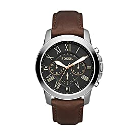 Fossil Men's Grant Stainless Steel and Leather Chronograph Quartz Watch title