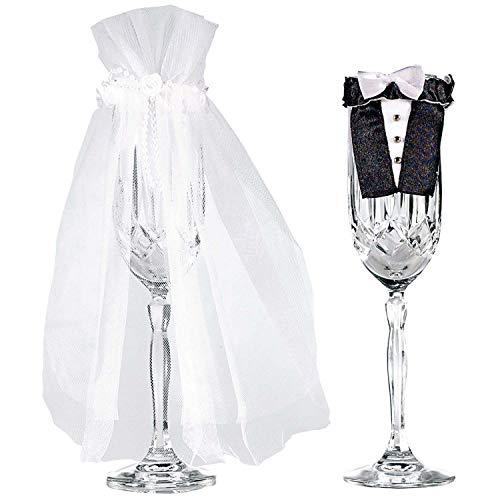 Amscan-355000-Champagne-Flutes-Design-Bride-and-Groom-Stem-Wear-2-pieces-Multicolor