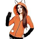 Anime Fox Orelhas Cosplay Hoodie Fleece Jacket Halloween Cosplay Sweatshirt Cute Animal Costume Coat