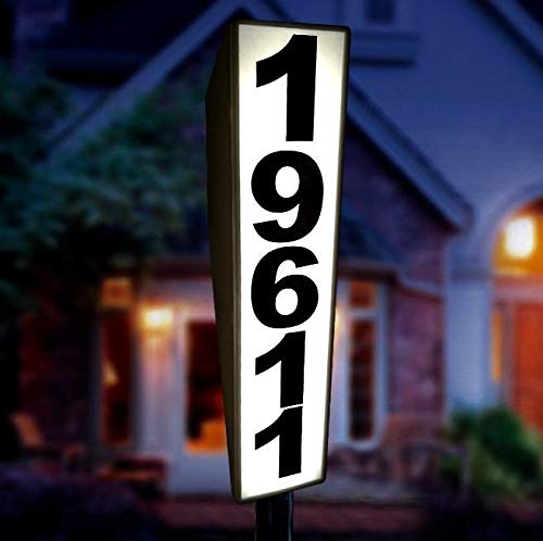 Solar Lighted Address Sign by Eternal Light | Personalized House Plaque Helps Emergency Responders Locate Your Home
