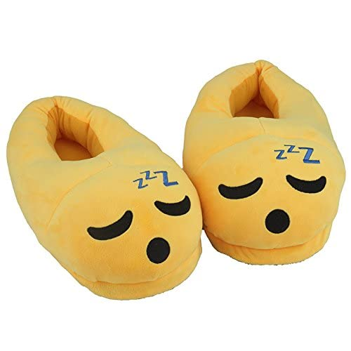 Cute Sleepy Emoji Sleep Slippers Plush Cotton Soft Warm Comfortable Indoor Bedroom Shoe For Big Kids & Women With Non-Skid Footpads ~ We Pay Yours Sales Tax B11802