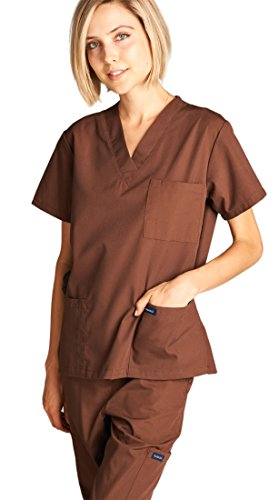 Dagacci Medical Uniform Girl and Man Scrub Set Unisex Medical Scrub Prime and Pant, BROWN, S deal 50% off 41eiFmg B 2BL