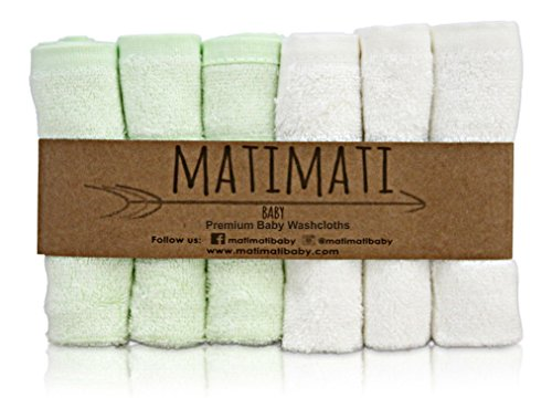 "Matimati Rayon From Bamboo Baby Washcloths (6-pack) - Soft & Absorbent Towels For Baby's Sensitive Skin - Perfect 10""x10"" Reusable Wipes - Excellent Shower / Registry Gift"