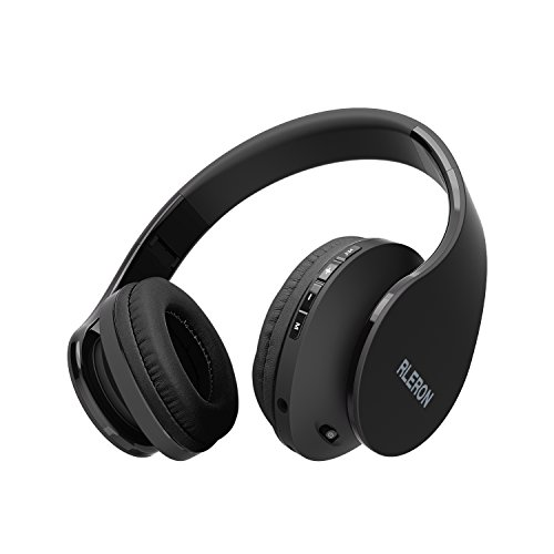 RLERON Bluetooth Headphones Over-Ear, Wireless Headsets, Computer Earphone with Hi-Fi Stereo, Foldable, Soft Memory - Protein Earmuffs, Built-in Wired Mode for PC/Cell Phones/TV (Black)