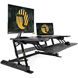 Standing Desk Converter with Height Adjustable - FEZIBO 36' Sit to Stand up Desk Riser Black Computer Workstation Dual Monitor Tabletop Lifter