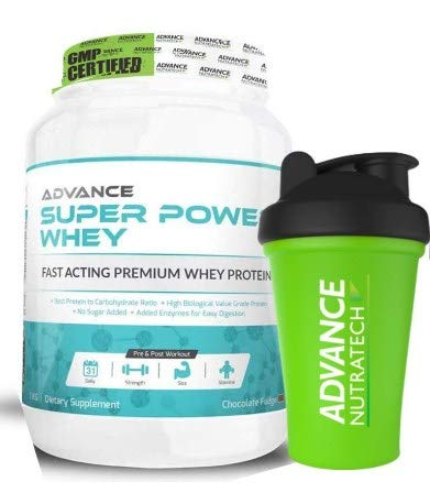 Advance Nutratech Whey Protein Super Power -1 Kg (Chocolate), Free Shaker, Protein Powder Supplement, for Men and Women, Lean Muscle, Trial Traveller Refill Pack, with Digestive Enzymes Keto Beginners