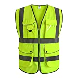 JKSafety 9 Pockets Class 2 High Visibility Zipper Front Safety Vest With Reflective Strips, Yellow Meets ANSI/ISEA Standards (XX-Large) ...