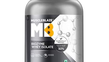 MuscleBlaze Biozyme Whey Protein Isolate (Ice Cream Chocolate, 1 kg / 2.2 lb, 32 Servings)
