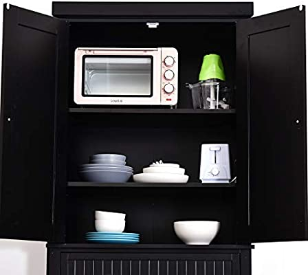 Homcom Traditional Freestanding Kitchen Pantry Cabinet Cupboard With Doors And Shelves Adjustable Shelving Black