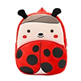 Cute Toddler Backpack Toddler Bag Plush Animal Cartoon Mini Travel Bag for Baby Girl Boy 1-6 Years (Beetle)