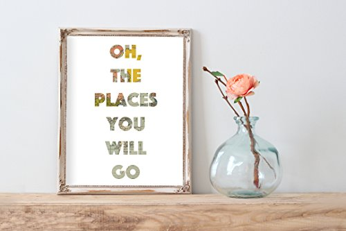 Whimsical Travel Print | 8.5 x 11 | Oh The Places You Will Go | Wall Decor