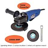 4-1/2 Inch Angle Grinder, 6.0-Amp Heavy Duty Paddle Switch with 1 Abrasive Wheels, Side Handle, Safety Guard & Spanner for Disc Attachment, for Removing Paint & Mortar, Sanding, Cutting, Grinding
