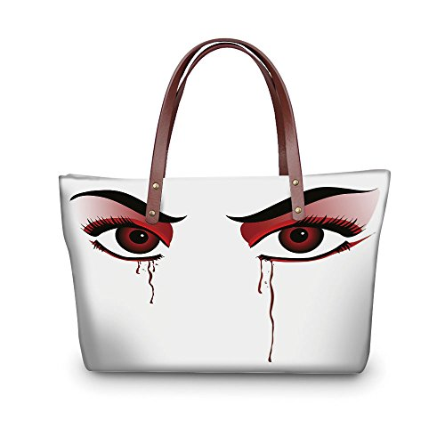iPrint Design the fashion for you Waterproof Women Casual Handbag Tote Bags,Vampire,Red Eyes of a Woman Dropping Blood Tears Female Foe Threatening Look Danger Decorative,Black Red White.