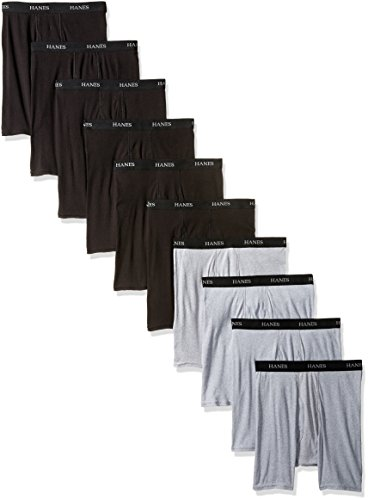 Hanes Men's 10-Pack B/g Boxer Brief, Assorted, Large