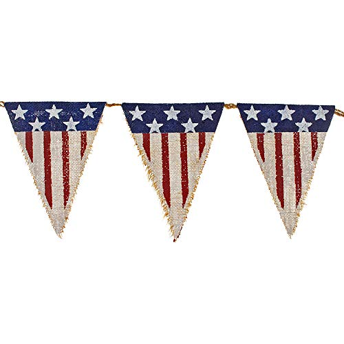 Patriotic Red, White, and Blue American Flag Burlap Banners - Celebrate Veterans Day, Independence Day, or Memorial Day (Rustic)